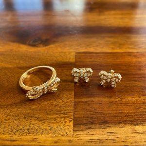Coach Swarovski Crystal Bow Stud Earrings + Ring